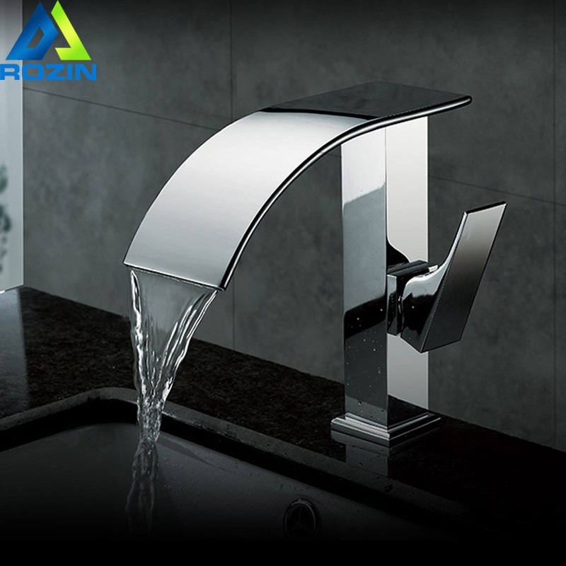 Polished Chrome Waterfall Basin Mixers Single Handle Square Bathroom Basiin Faucet One Hole Brass Material free shipping polished chrome solid brass material bathroom sink waterfall square faucet