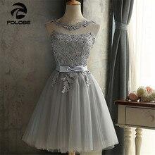 FOLOBE Womens Lace Dresses Girls Elegant Vintage Tulle Gray Applique Sash Bodycon Mini Evening Party Dress Formal Dress