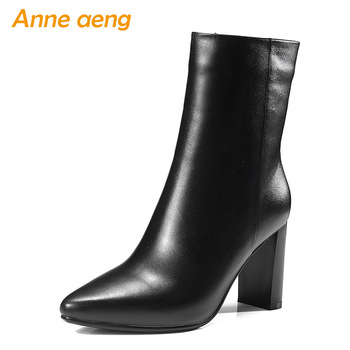 2019 New Genuine Leather Women Ankle Boots High Heels Square Toe Zip Fashion Sexy Ladies Boots Black Women Cow Leather Shoes