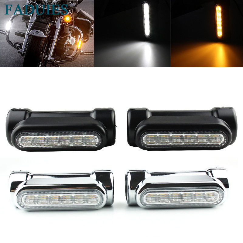 FADUIES Chrome For Crash Bars Harley-Motorcycle Touring Bikes Motorcycle Highway Bar Switchback Driving Light White Turn Amber