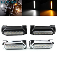 FADUIES Chrome For Crash Bars Harley Motorcycle Touring Bikes Motorcycle Highway Bar Switchback Driving Light White turn Amber