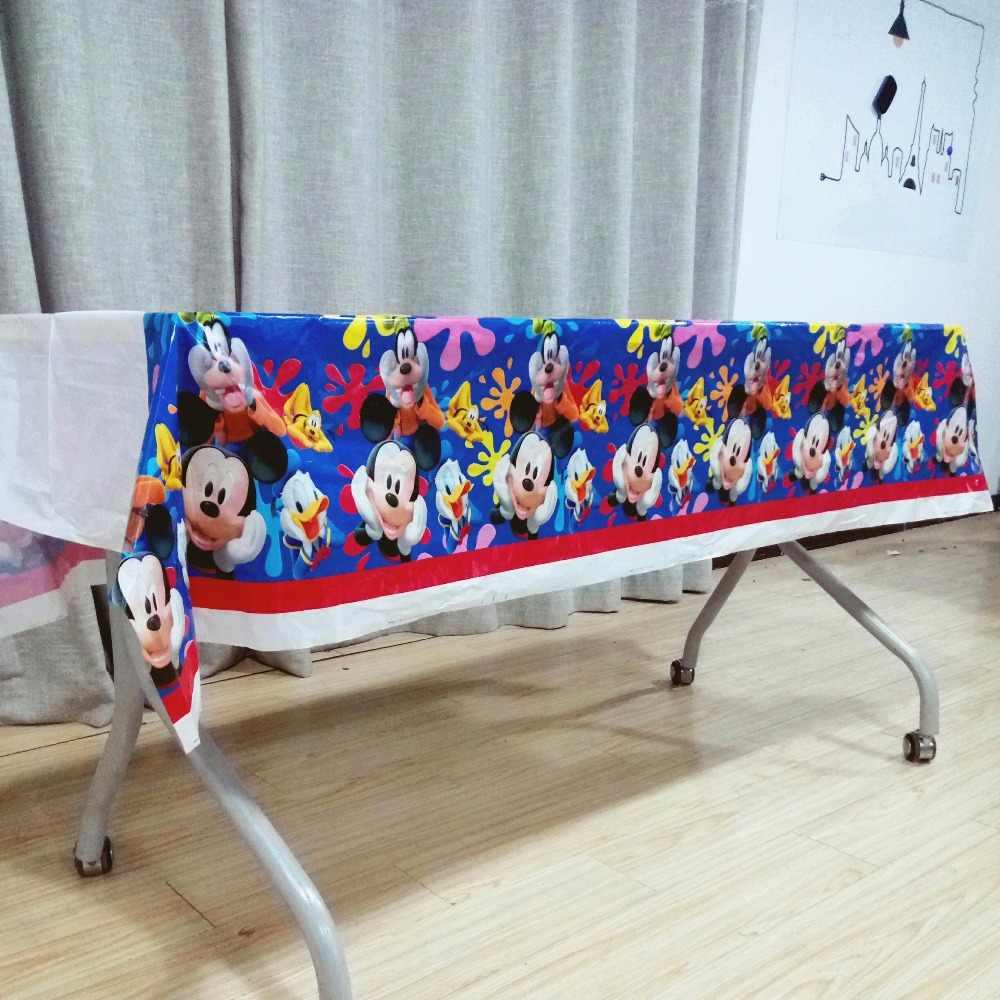 108cm * 180cm tema Mickey Mouse fiesta mantel bebé ducha disposición niños Favor fiesta de cumpleaños decoración conjunto de suministros para fiesta
