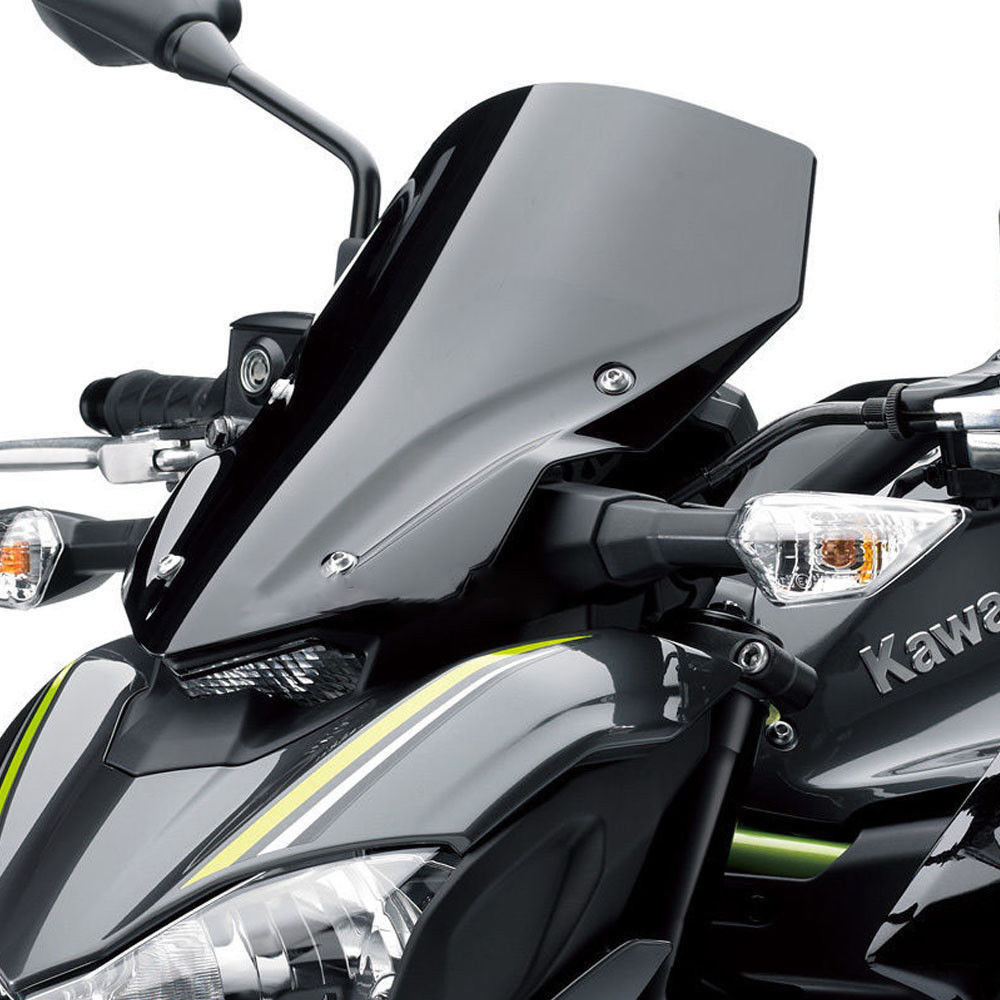 Motorcycle High Quality Windshield WindScreen Smoke Black Screen W/ Bracket Accessories For Kawasaki Z900 2017