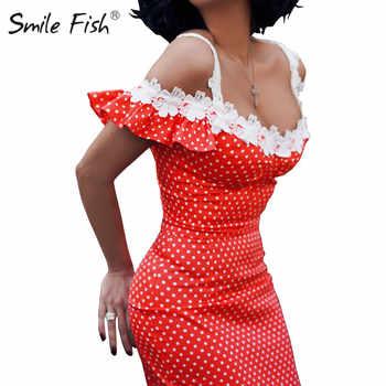 Holiday Off Shoulder Crochet Patchwork Sundress Butterfly Sleeve Polka Dot Elegant Women Midi Dress Femme Sexy Sheath Robe GV299 - DISCOUNT ITEM  29% OFF All Category