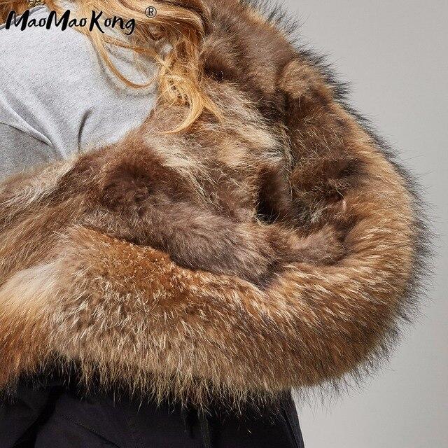 womens fox fur coat parkas winter jacket coat women parka big real fur collar kurtka damska natural fox fur liner long outerwear 4