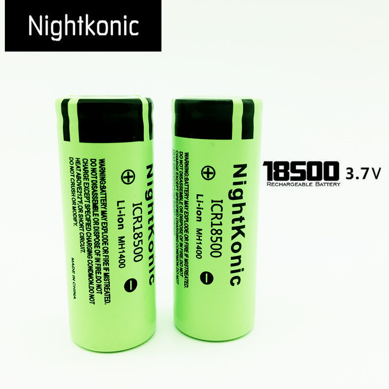 Most High Quality  ICR 18500 Battery Original Nightkonic  3.7V Li-ion Rechargeable Battery  Green
