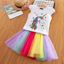 Herbabe Summer Unicorn Baby Girl Dresses for Party and Wedding Rainbow Mesh Kids Princess Dress Clothing Birthday Gift
