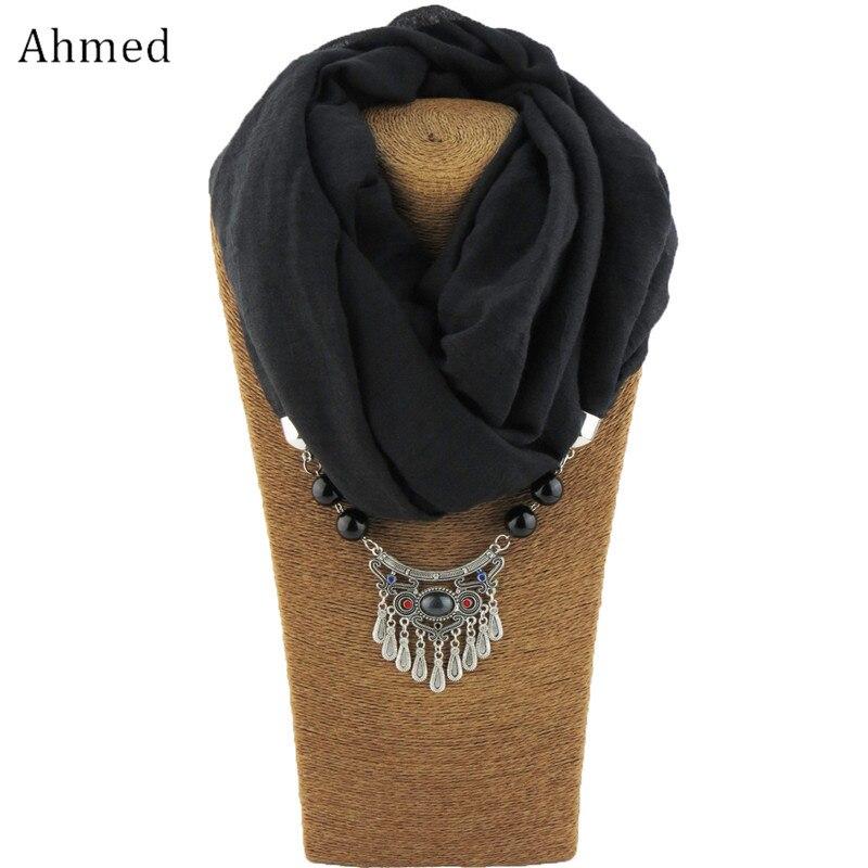 Ahmed Fashion New Muslim Cotton Scarf Necklaces Metal lock Beads Pendant Statement Necklace for Women Jewelry Bijoux 2018 women scarf muslim hijab scarf chiffon hijab plain silk shawl scarveshead wrap muslim head scarf hijab