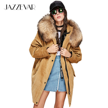 JAZZEVAR 2017 Autumn/winter new women's parkas real lamb detachable liner large raccoon fur jacket corduroy coats loose clothing(China)