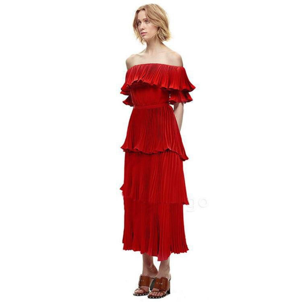 Auto Cou Élégante Partie Nouveau Piste Off Robe Sexy Plissé Portrait Bourgogne Ruffles Boho Épaule Rouge D'été Femelle Robes 2018 xdO77qY4w