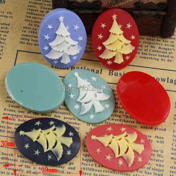 free shipping 81-126 10piece christmas tree style flat back Resin Cab Cabochon for craft accessories cameo setting