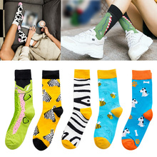 2019 New Men Happy Socks High Quality Combed Cotton Crew Flamingo/Crocodile/Zebra Animals Funny Casual Sock For Couple цены
