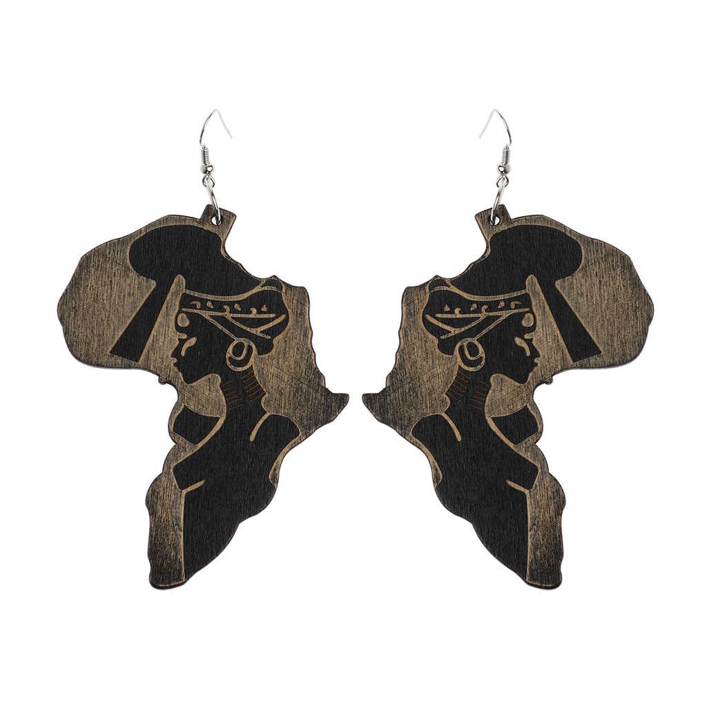 Natural Wood Africa Map Reggae Earrings Women Exaggerated Pendants Bib Jewelry