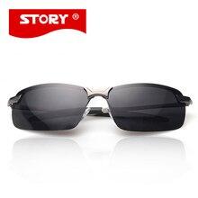 HISTORIA Polaried Gafas De Sol Hombre gafas de Sol de Diseñador Hombres de la Marca Rectángulo Sin Montura Gafas de Sol de Alta Calidad de Moda Fresco UV400