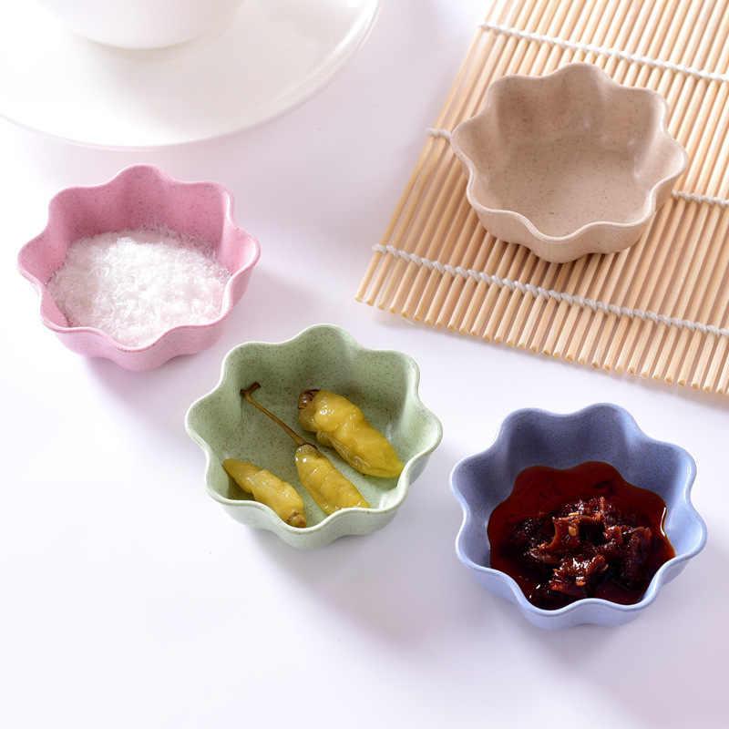 Горячая Кухня «любящее сердце» Форма Пшеница соломенная чаша уксус приправа однотонные сои блюдо соус соленой закуски маленькая тарелка 4 Форма d чаши