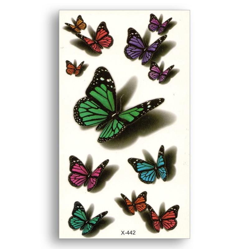 Waterproof Temporary Stickers Water Transfer Fake Tattoo Women Body Art Butterfly 3d Charm Colour Makeup Home Decor Wrist