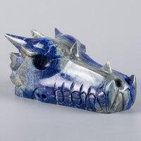 5 натуральный Лазурит Голова Дракона фигурка кристалл статуя вырезанная вручную Исцеление резьба по натуральному камню фэн шуй Декор