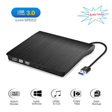 цена External USB 3.0 CD/DVD RW Burner CD/DVD-ROM Drive Slim DVD/CD ROM Rewriter Burner Writer, High Speed Data Transfer for Laptop онлайн в 2017 году