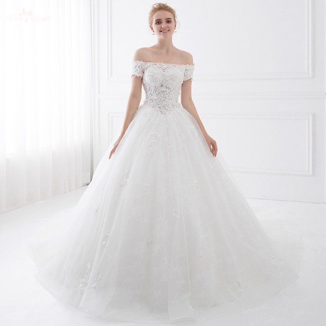 Lz189 Short Sleeve Flower Wedding Dress Sequin Off The Shoulder Ball Gown