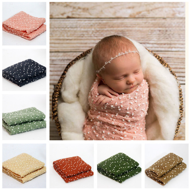 Baby mohair elastic wraps blanket stretch knit wrap with white balls hammock swaddling infant newborn photo