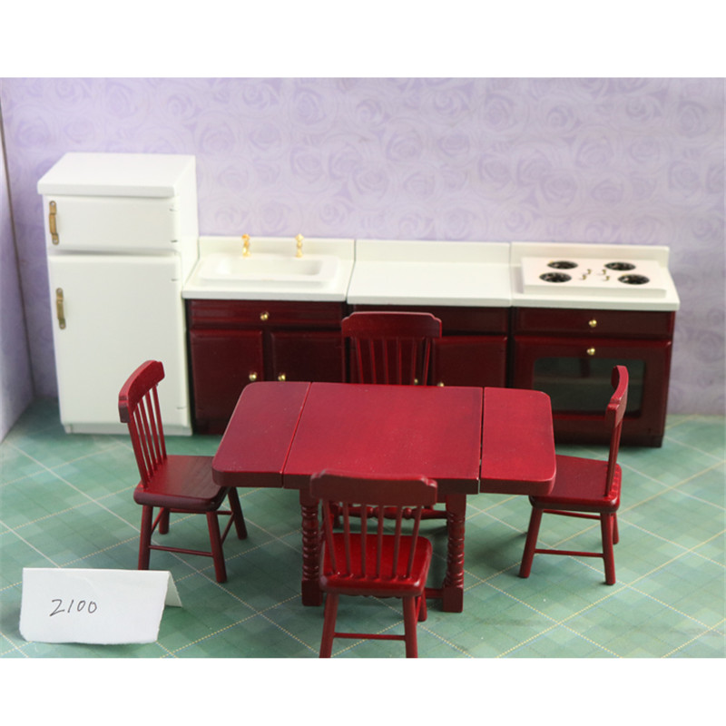 Doub K 1:12 Dollhouse Furniture toy red Wooden Miniature refrigerator table set stove dolls house pretend play toys for girls cutebee pretend play furniture toys wooden dollhouse furniture miniature toy set doll house toys for children kids toy