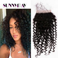 Sunnymay Hair Stock Lace Closure With Clips 4x4 Peruvian Deep Curly Virgin Human Hair Clips In Lace Closure With Baby Hair