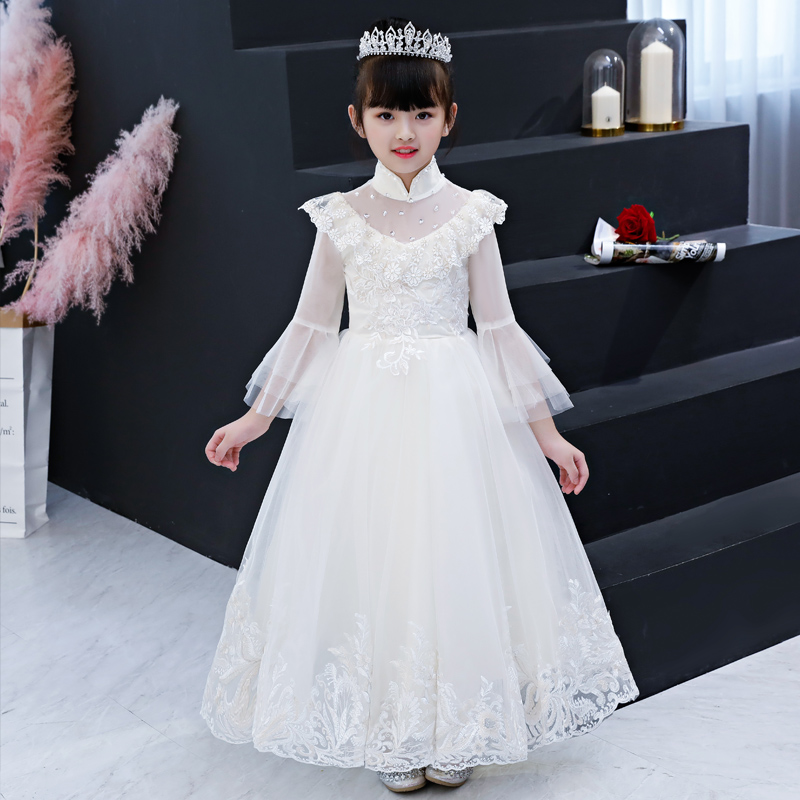White First Communion Dress Stand Collar Embroidery Flower Girl Dresses for Wedding Long Sleeve Kids Pageant Dress Birthday Gown
