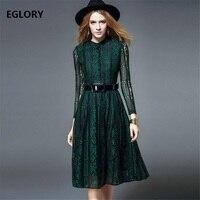 Yeşil Dantel Elbise Yeni Kore Moda Bahar Giyim 2018 Kadın Standı Yaka Yüksek Kalite PU Deri Kemerler Elbise Uzun Kollu