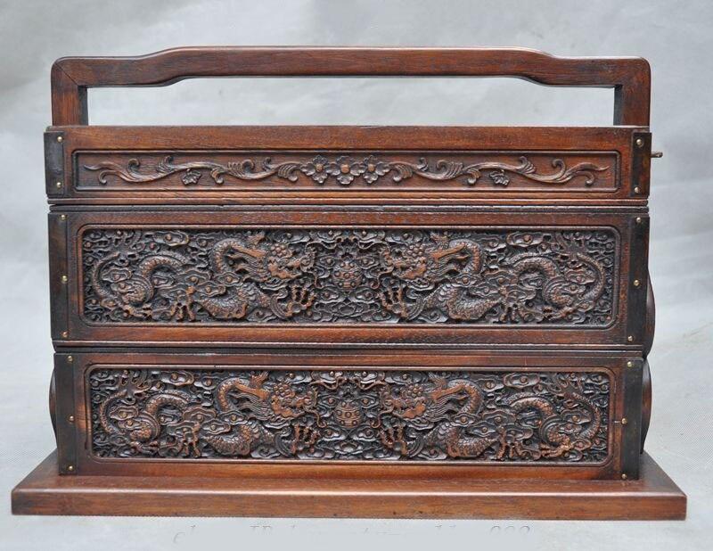 Noël chinois Huanghuali bois sculpté Dragon vaisselle ancienne boîte alimentaire conteneurs alimentaires nouvel an
