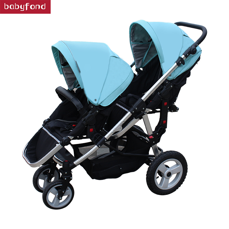 2018 babyfond Twin baby strollers can sit high landscape umbrella folding four wheel double stroller High quality trolley