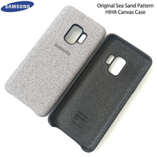 Original Samsung Galaxy S9 / S9 Plus PU Canvas Leather Case Sea Sand Pattern Back Protective Cover For Samsung Galaxy S9/S9+