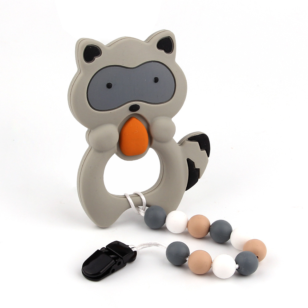 TYRY.HU 1x Silicone Beads Baby Teether Silicone Teething Toys Bpa Free Personalized Teething Necklaces Raccoon Silicone Teether tyry hu 1 piece baby teether mushroom teether bpa free silicone teething beads silicone teether baby shower gift