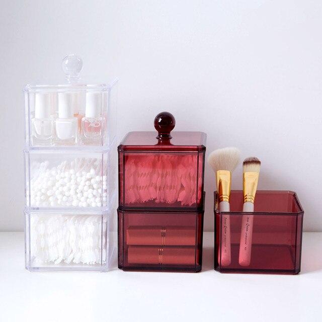 8c126439c 1 piezas cubo cuadrado cosmético cajas de almacenamiento con tapa  organizador de maquillaje de acrílico claro