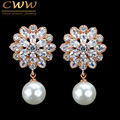 CWW Brand Fashion CZ Crystal Dangling Drop Pearl Earring Rose Gold Plated Cubic Zirconia Jewelry For Women CZ183