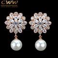 CWW Marca de Moda CZ Crystal Cuelga Gota Pendiente de Perlas de Oro de Rose Plateado Cubic Zirconia Joyería Para Las Mujeres CZ183