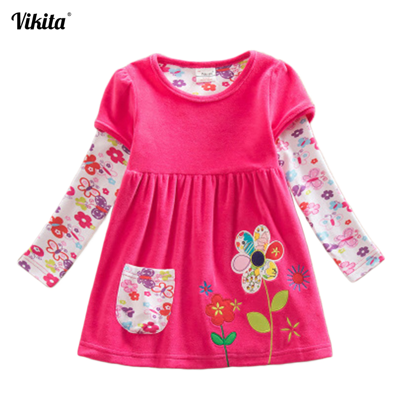 все цены на VIKITA Girls Dress Spring Autumn Kids Casual Style Mini Patchwork Princess Dress Flower Long Sleeve for Children Clothes LD6660 онлайн