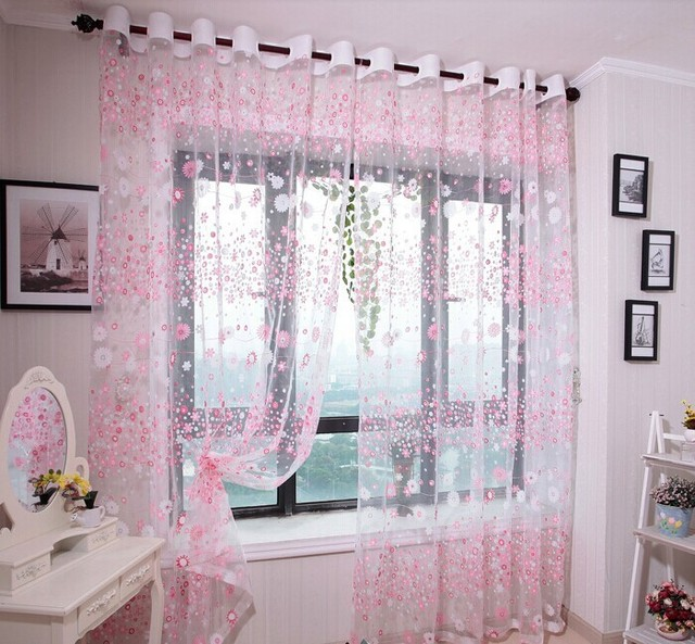 Pink Living Room Sheer Curtains Home Goods Tulle For Girl Window Screening  Customize Finished Product