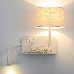 Image 2 - creative Usb charging port Shelf fabric led wall lamp modern bedroom bedside lamp home deco study reading led wall sconces light