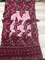 XX22 Red Wine Flowers Stones On Netting Embroidered Dress Wedding Dress Evening Show Dress Fabric Hot