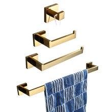 цена на Leyden SUS 304 Stainless Steel 4pcs Bathroom Hardware Set Bathroom Accessories Gold Toilet Paper Holder Towel Bar Towel Ring