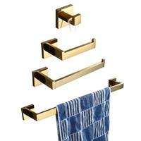 Leyden SUS 304 Stainless Steel 4pcs Bathroom Hardware Set Bathroom Accessories Gold Toilet Paper Holder Towel Bar Towel Ring