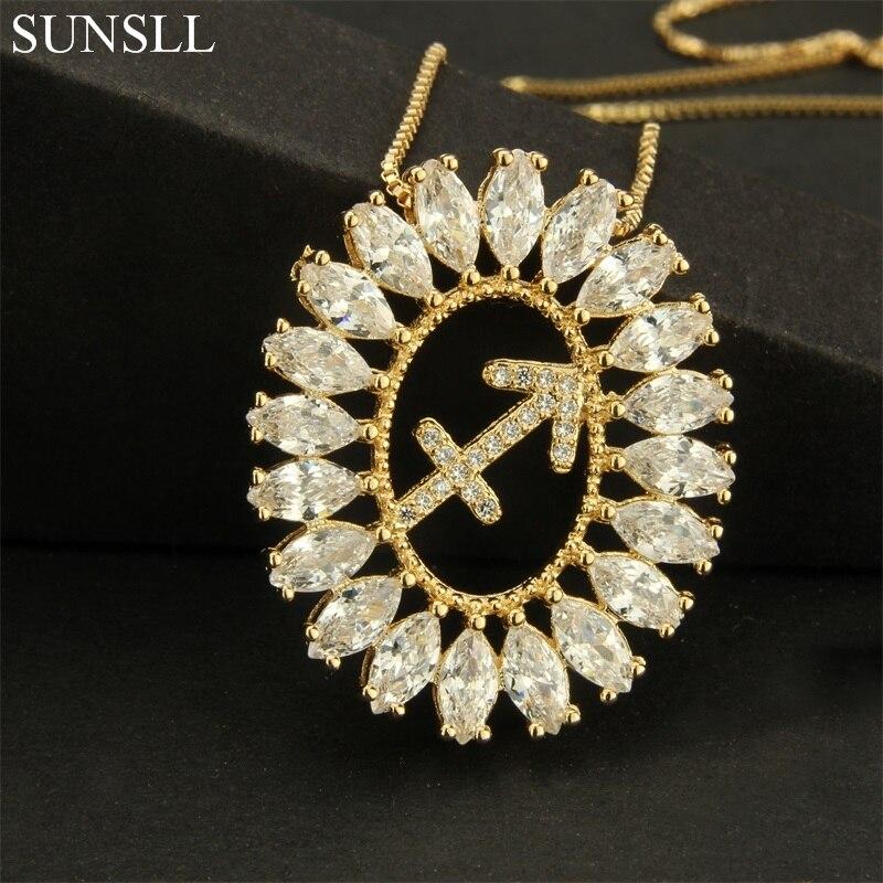 SUNSLL Cor Dourada de Cobre Branco Cubic Zirconia 12 Constellation Pingente Colares Moda feminina Jóias de Cobre CZ Colar