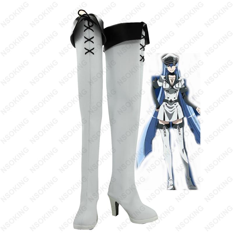 Akame ga KILL Esdeath Cosplay Boots Esdese Anime Shoes Custom Made 100cm high quality heat resistant akame wig anime akame ga kill cosplay wigs long black synthetic hair wig cap