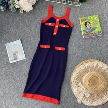 NiceMix Summer Sexy Bodycon Dress Women Spaghetti Strap Stretch Knitted Solid Woman Dresses Vestidos De Fiesta