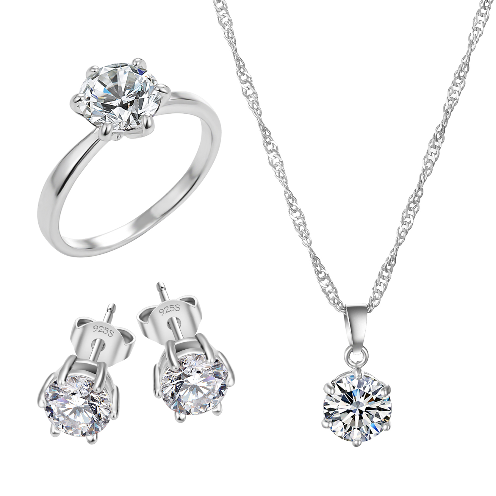Fashion Silver Color Cubic Zircon Jewelry Sets Hot Promotions Jewelry Jewelry Sets Women Jewelry