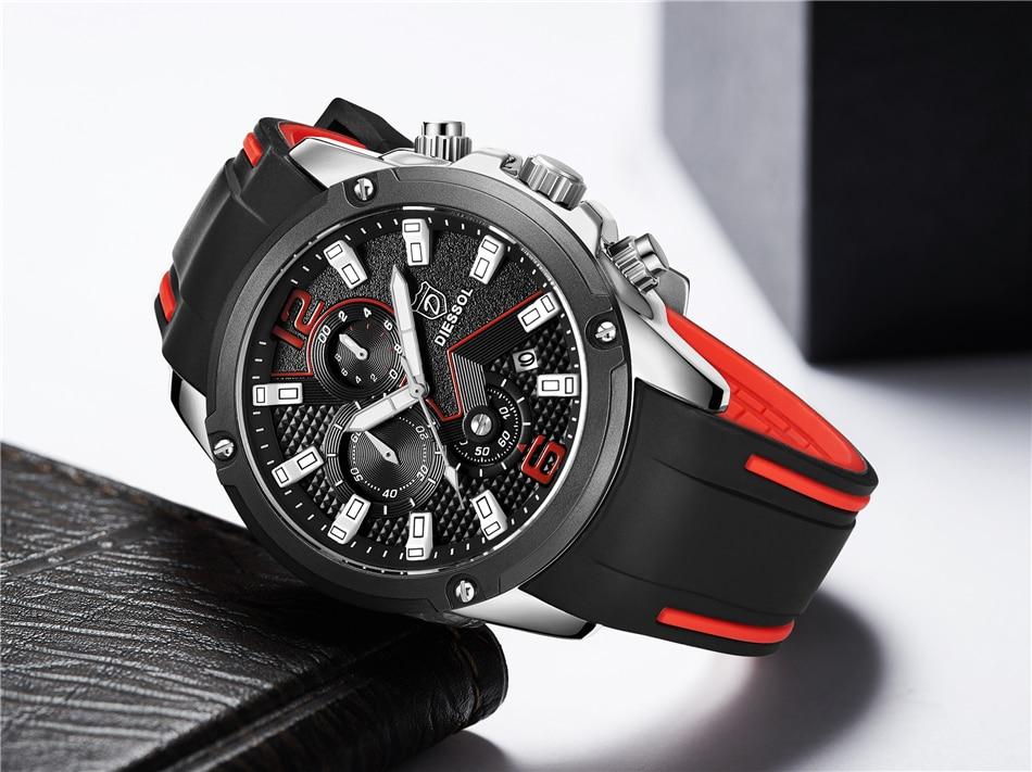 DIESSOL Men's Fashion Sports Quartz Watch Mens Watches Top Brand Luxury Rubber Band Waterproof Business Watch Relogio Masculino 29