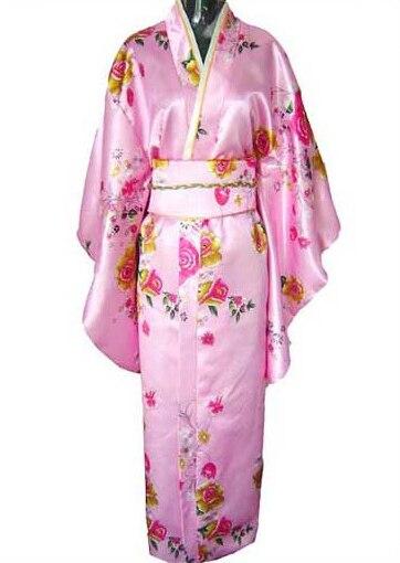 Yüksek moda klasik kadın seksi saten kimono obi vintage abiye ile japon vintage yukata haori bir boyut
