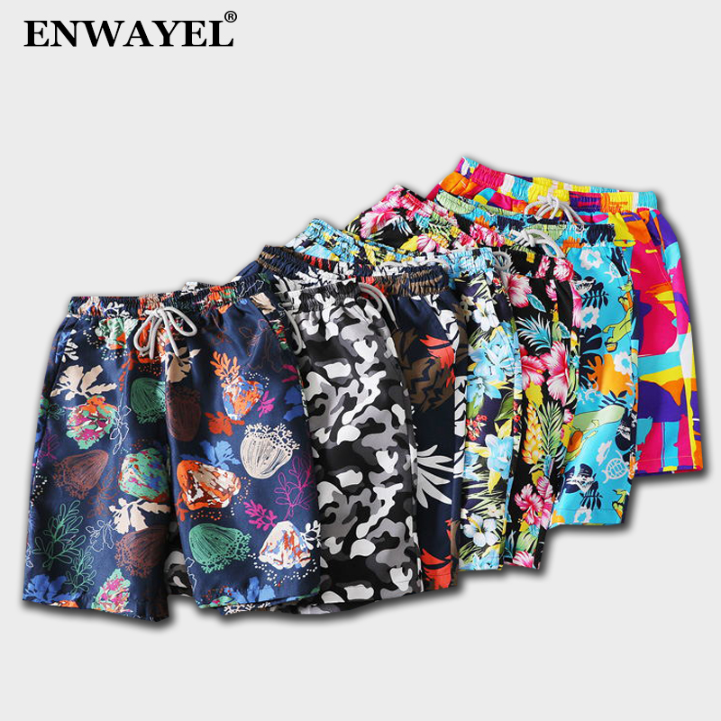 Enwayel Summer Casual Shorts Men Trousers Male Camouflage Fashion Flowers Print Straight Short Beach Mens Clothing K1015