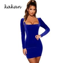 Kakan 2019 spring new womens dress long-sleeved square collar gold velvet temperament banquet