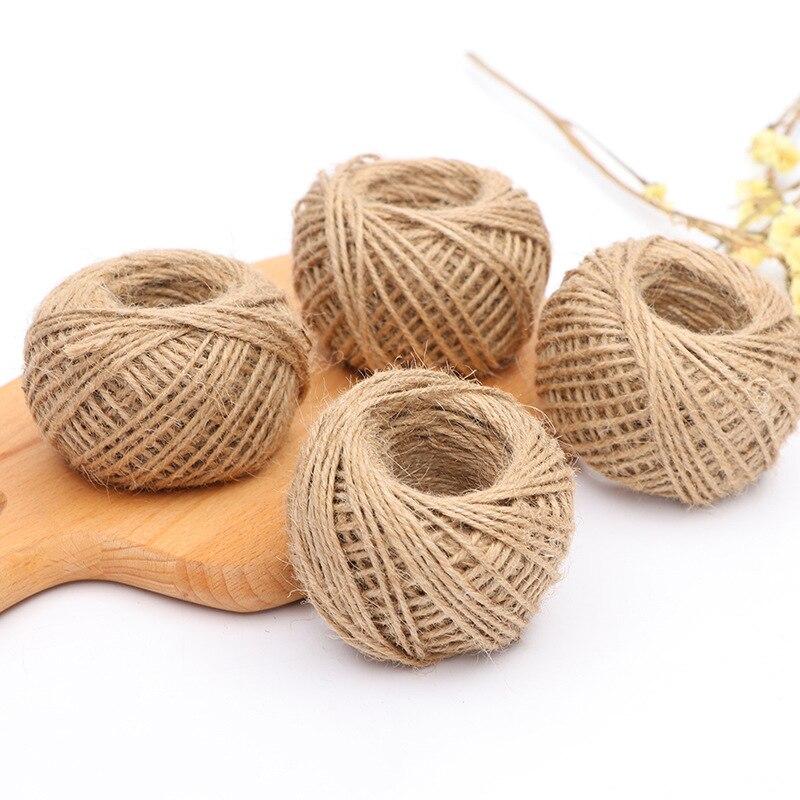 Natural Burlap Hessian Jute Twine Cord Hemp Rope String Gift Bottle Packing Strings Wedding Thread DIY Scrapbooking Craft Decor